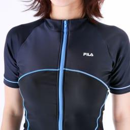 FILA半袖フルジップセパレート水着   (イ)ブラック×サックス