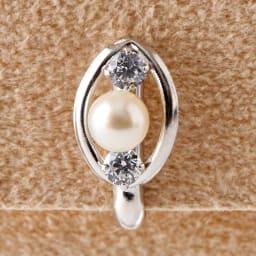 K10淡水パールキュービックオーバルイヤリング (イ)ホワイトゴールド