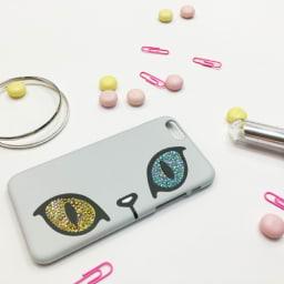 iPhone7 キラキラ オッドアイケース (ア)グレー