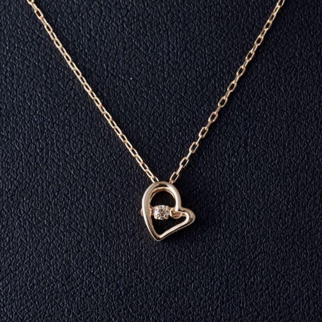 グレーシャスダイヤ K10 ゴールドネックレスハート (ア)ゴールド