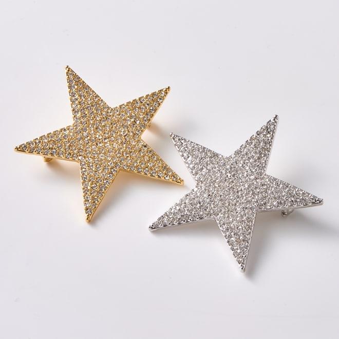 ラインストーンブローチ 星