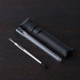 耳かき 2way(革ケース付き) 2タイプの耳かきと専用ケース、オリジナル革ケースのセットです