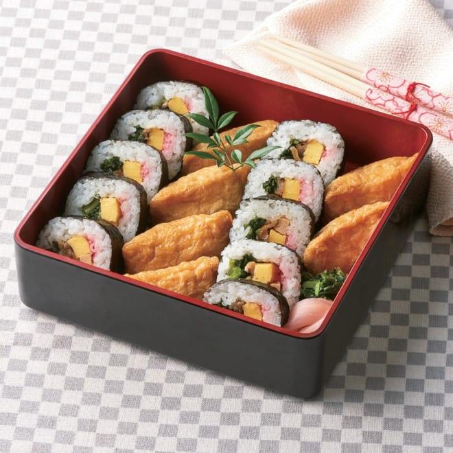 お米屋さんが作ったこだわりのいなり寿司と巻寿司セット 盛り付け例 ※商品にお重は付きません。