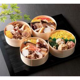 北陸の4種わっぱ飯セット (4食) 上から時計回りに、海の恵わっぱ、しゅうまいわっぱ、美味三昧わっぱ、陸の恵わっぱ