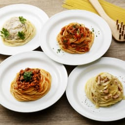リストランテ・マッサ監修 パスタセット 【盛付例】4種のパスタソースとパスタ麺のセット。
