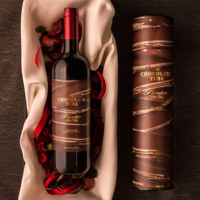 チョコレート・チューブ プリミティーヴォ (750ml×1本) チョコレートをイメージした専用筒型ボックス付き赤ワイン!