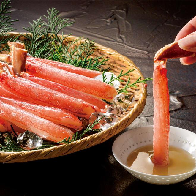 【父の日】刺身用 本ずわいがに 500g 【盛り付け例】ずわいがにがそのままお刺身で食べられる刺身用のすわいがに。鮮度のよい