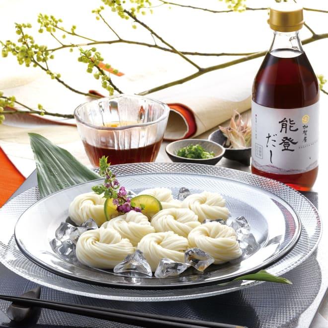 島原手延素麺と「加賀屋」能登だしセット 【盛付例】