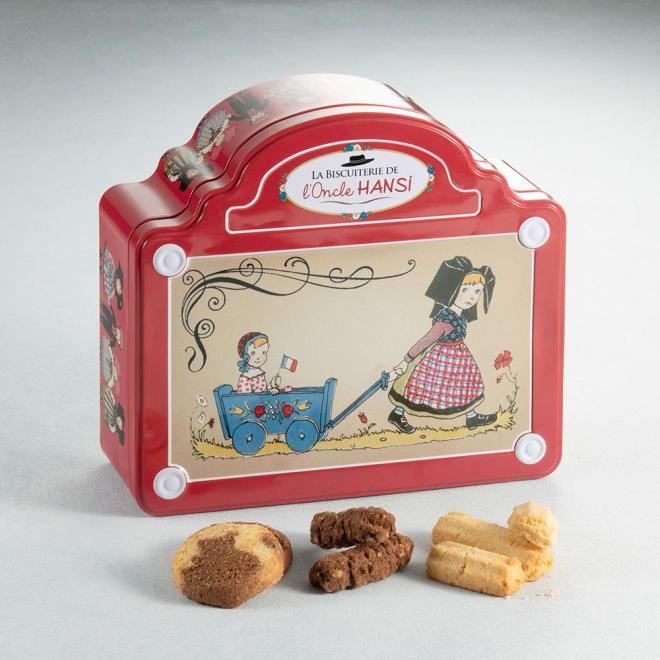 Oncle HANSI/オンクルアンシ マ・ベベ (150g×3袋) マ・ベベとは、「私の赤ちゃん」を意味するフランス語。小さな女の子が赤ちゃんを乗せた乳母車を引く様子が描かれています。