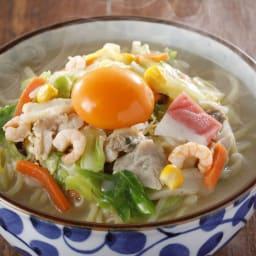 長崎割烹「龍」監修 小浜ちゃんぽん 盛り付け例 ※卵は商品に付いておりません。