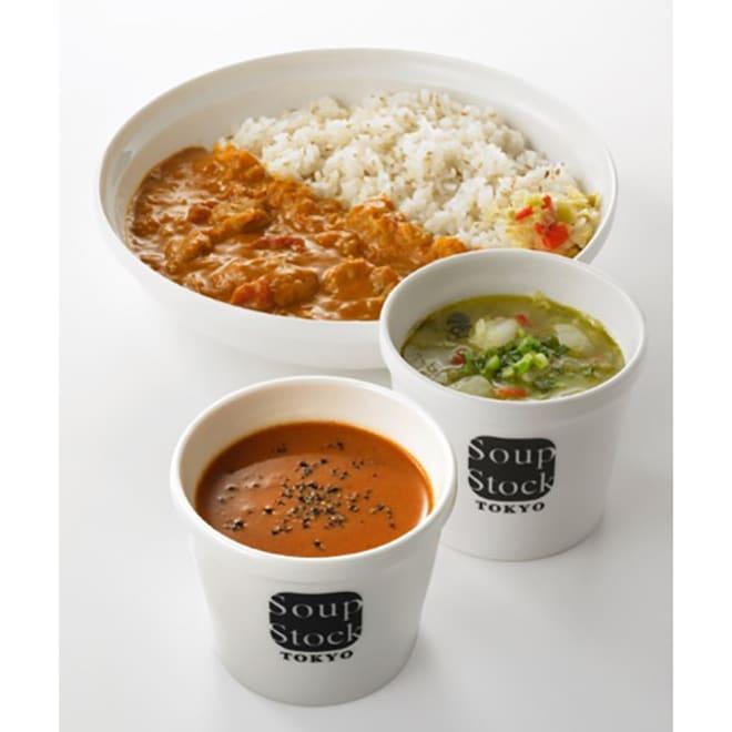 「スープストックトーキョー」カレーとスープのセット 【盛り付け例】1パック分の量を盛り付けております。