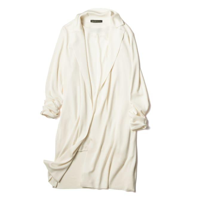 シルク総針編み ロングニット ジャケット エクリュ ※インナーは別売りです。