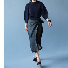 デニム風 シングルジャカード ニットスカート