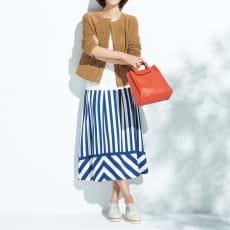 イタリア素材 ストライプ パネルプリント スカート