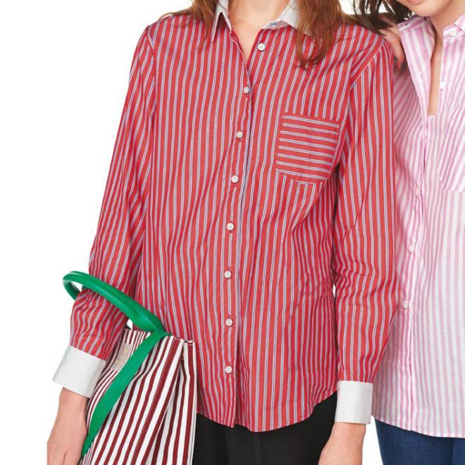白襟と白カフスが爽やか ストライプクレリックシャツ (左)白襟と白カフスが爽やか ストライプクレリックシャツ (イ)レッド