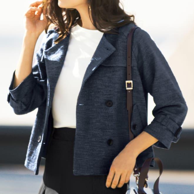 スラブツイードラメ トレンチデザインジャケット コーディネート例