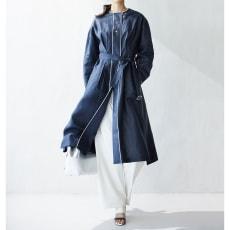 リベコ社 リネン チンツ加工 パイピング使いコート
