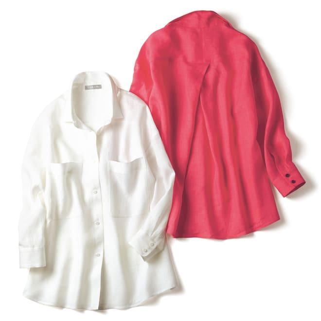 後ろタック使い オーバーリネンシャツ 左から オフホワイト、ストロベリーレッド BACK ※今回ストロベリーレッドのお色の販売はございません。