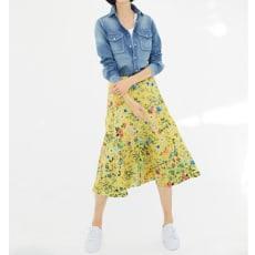 イタリア素材 花柄 フレアースカート
