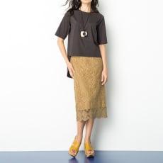 カットワーク刺繍 タイトスカート