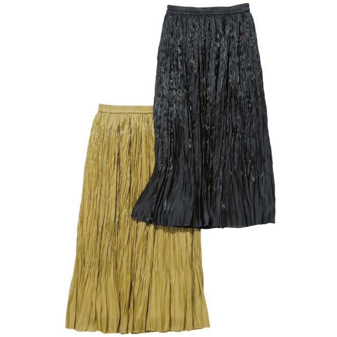 きらきらプラチナサテン ランダムプリーツスカート 左から マスタード 、ブラック ※今回マスタードの販売はございません。