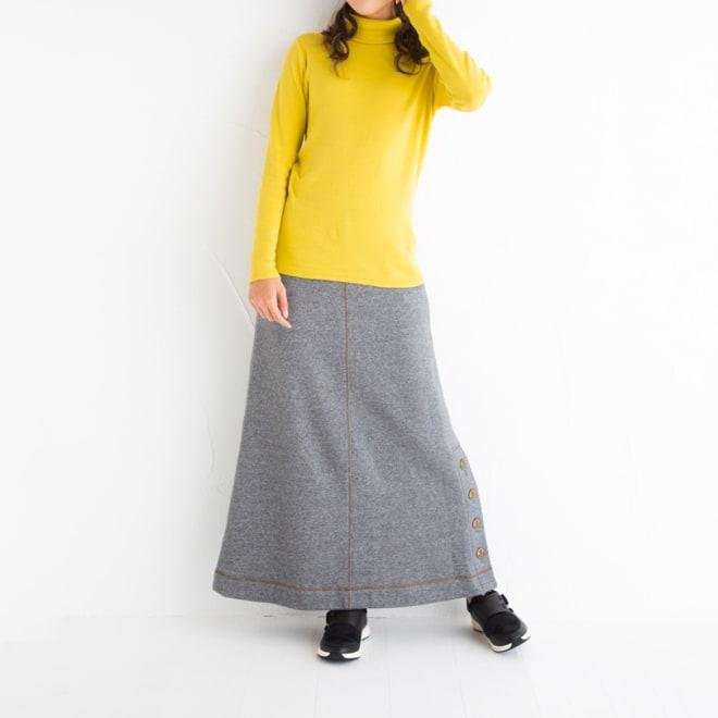 ボタンスリット スウェットロングスカート コーディネート例