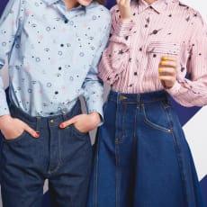 フランス素材 ハートと星のとろみシャツ