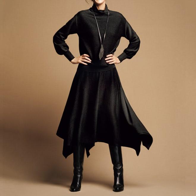 サイドドレープ 総針編み スカート コーディネート例 /揺れるスカートと優しさ薫るトップス。組み合わせれば、ワンピースのような洗練美。
