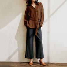 (股下丈64cm)ストレッチオックス 裾ダブル ワイドパンツ