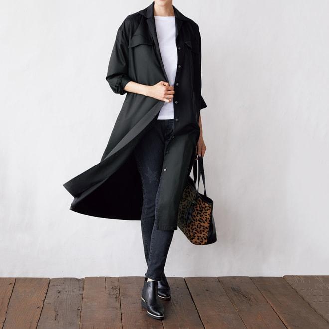 デザインポケット ロングシャツワンピース コーディネート例