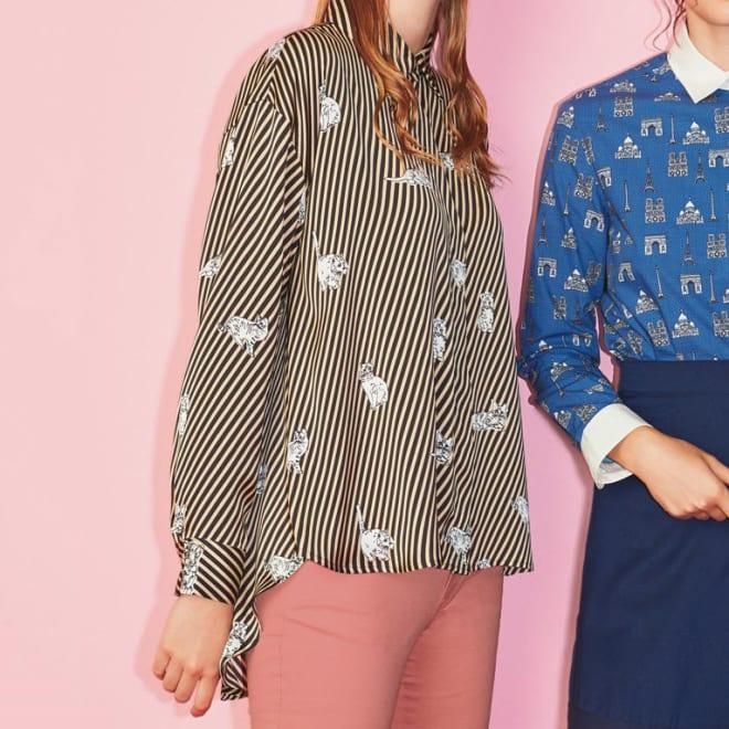 ネコの斜めストライプ とろみシャツ (左)ネコの斜めストライプ とろみシャツ コーディネート例