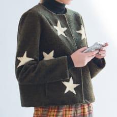 羊毛でできたパイル素材 星柄ウールファージャケット