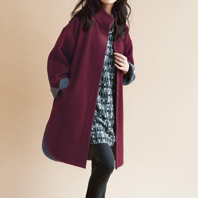 ウール混配色使い スタンドカラーコート(大きいサイズ) コーディネート例