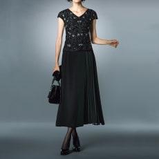 プリーツ使い ラップデザイン スカート