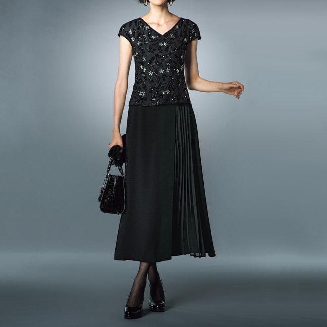 プリーツ使い ラップデザイン スカート コーディネート例