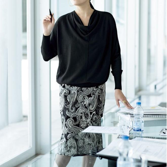 イタリア素材 モノトーン ペイズリー スカート コーディネート例 /オフィスでも女性であることを自然に楽しめるコーディネート。