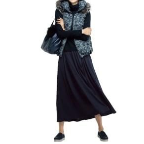 ウールジャージー タック フレアースカート 写真