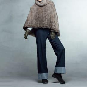 (股下丈65cm) 「NIKKE」 マフウールデニム 裾ダブル セミワイドパンツ 写真