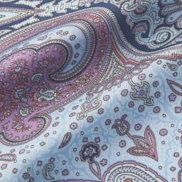 シルク混 ニットチュニック(スカーフ付き) ブルー系スカーフ