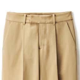 (股下丈74cm) スーピマコットン混 裾ダブルデザイン パンツ (ア)ベージュ ウエスト部分