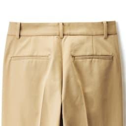 (股下丈74cm) スーピマコットン混 裾ダブルデザイン パンツ (ア)ベージュ BACK
