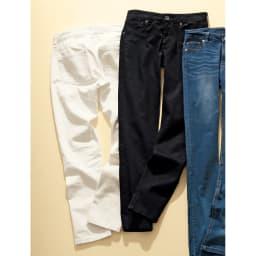 美シルエットスキニー カラーデニムパンツ 左から(ア)オフホワイト Back Style (イ)ブラック