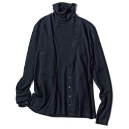 カリアッジ社 総針編み 五分袖 タートルプルオーバー ネイビー コーディネート例 ※カーディガンは別売りです。