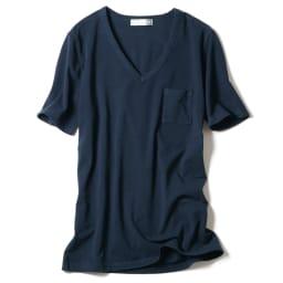 洗えるコットンベア天 Vネック 半袖Tシャツ (ウ)ネイビー