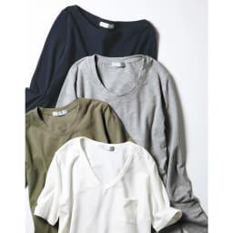 洗えるコットンベア天 Vネック 半袖Tシャツ 【色見本】 上から (ウ)ネイビー (イ)グレー (エ)カーキ (ア)ホワイト ※(イ)(ウ)(エ)は同シリーズの別のアイテムです。色味をご参照ください。