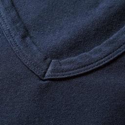 洗えるコットンベア天 Vネック 半袖Tシャツ 襟ぐり