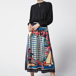 スカーフ柄プリントスカート(サイズS) 写真