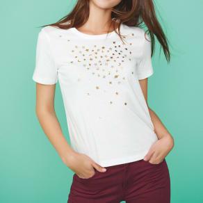 手描き風箔プリント きらきら星柄Tシャツ 写真