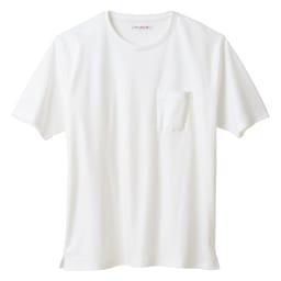 シルケット加工Tシャツ クルーネック(日本製) (ア)ホワイト