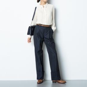 (股下丈68cm) スーピマコットン混 裾ダブルデザイン パンツ 写真